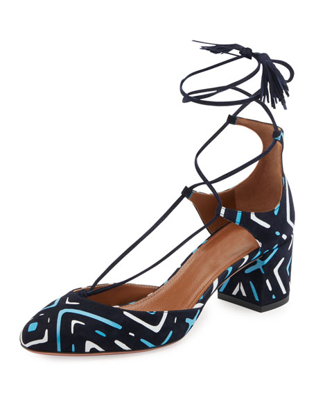 Aquazzura Boheme Printed Suede Block-Heel Pump, Blue Pattern