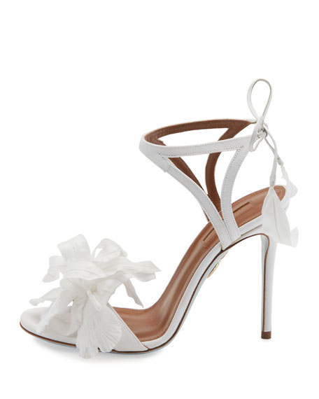Floral Satin Bridal 105mm Sandal, White