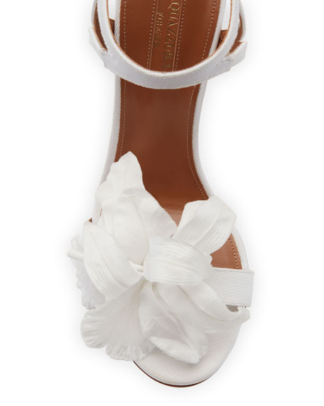 Floral Satin Bridal 105mm Sandal, White