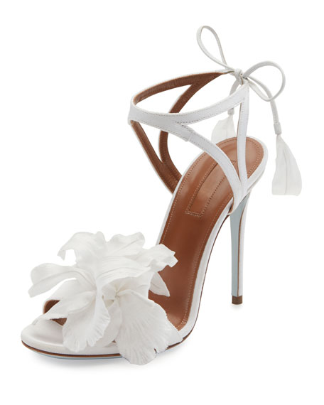 Aquazzura Floral Satin Bridal 105mm Sandal, White