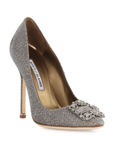 Hangisi Crystal-Buckle Shimmery 115mm Pump, Gold