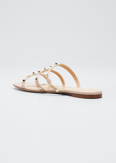 Rockstud Caged Flat Slide Sandals
