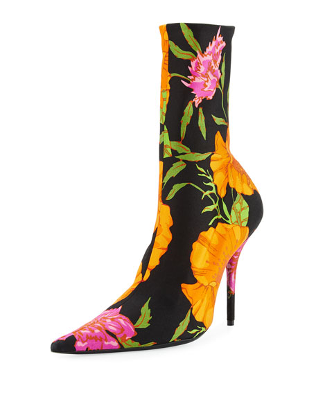 Floral Satin Pointed-Toe Bootie, Black/White