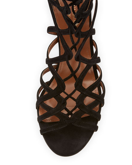 Ivy Lace-Up Suede 75mm Sandal, Black