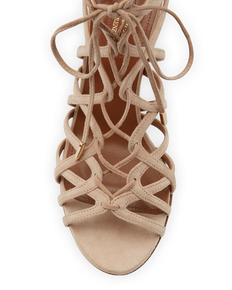 Ivy Lace-Up Suede 75mm Sandal, Nude