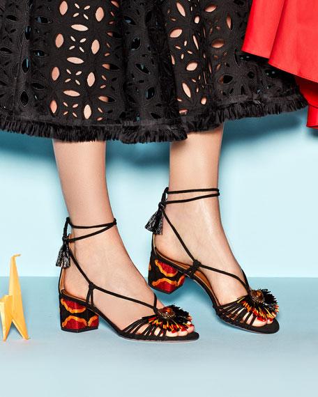 Samba Suede Block-Heel Sandal, Black