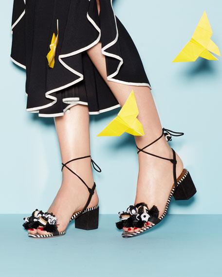 Tropicana Beaded 50mm Sandal, Black Pattern