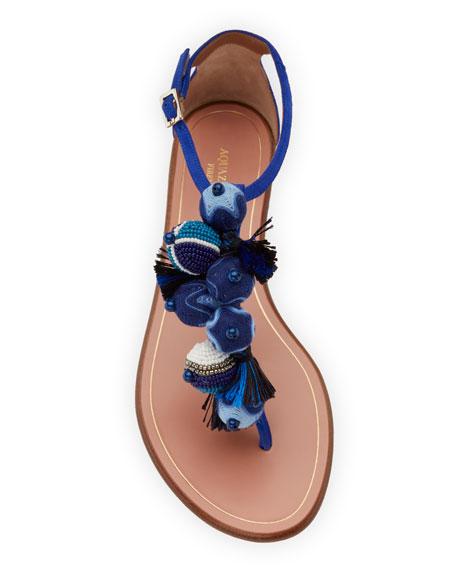 Wild Thing Fringed Slide Sandal, Blue
