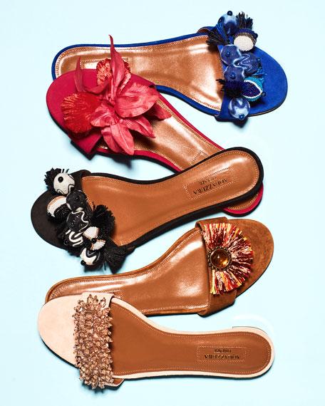 Samba Embellished One-Band Slide Sandal, Luggage