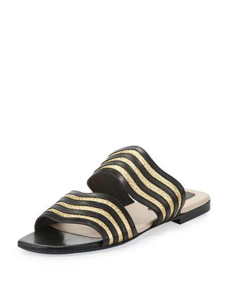 Sandal Metallic Blackgold Slide Wave UqMVGSzp