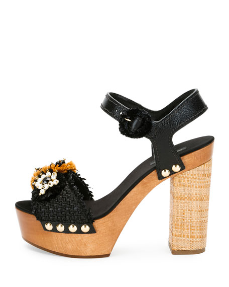 Raffia & Leather Platform Sandal, Black/Natural