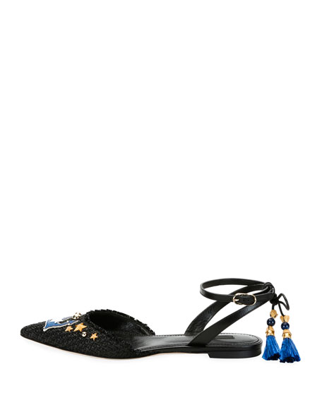 Anchor-Embellished Raffia Ankle-Wrap Flat, Black