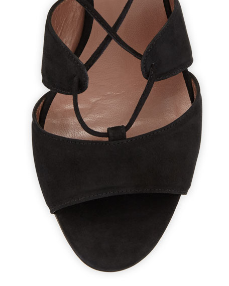 Isadora Suede Lace-Up Sandal, Black