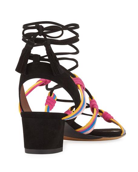 Mendi Suede Lace-Up Sandal, Black