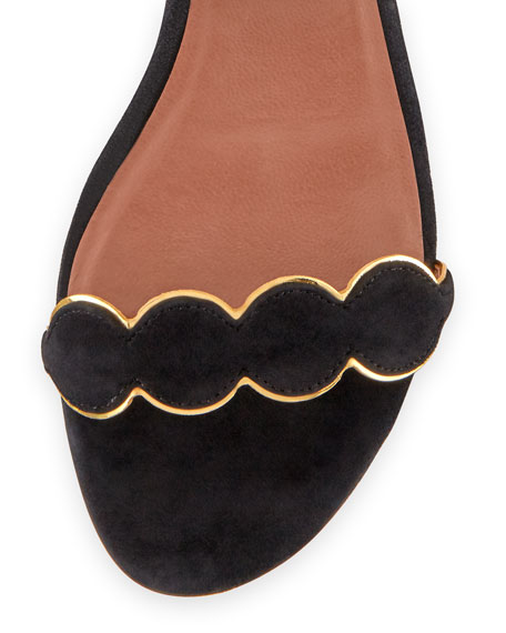 Pearl Suede Ankle-Wrap Flat, Black/Gold
