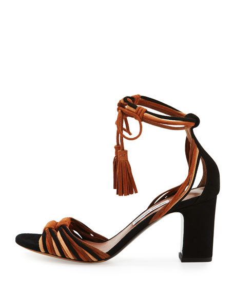 Jamie Knotted Suede Block-Heel Sandal, Brown/Black