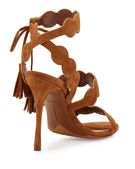 Cirrius Suede Three-Strap Sandal, Brown/Gold
