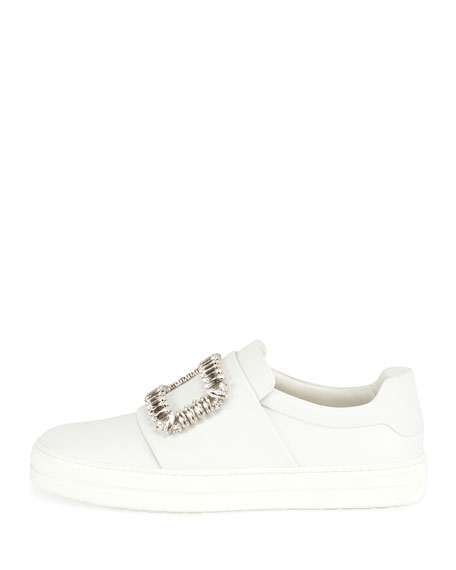 Leather Strass Buckle Sneakers, White (Bianco)