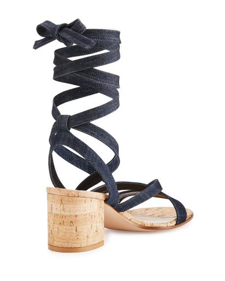 Janis Denim Leg-Wrap Sandal