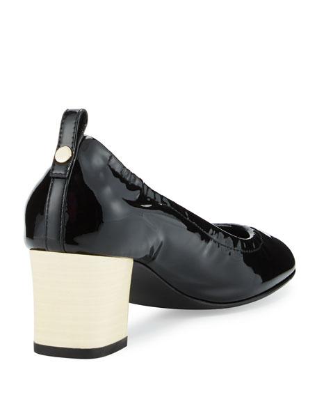 Patent Cube-Heel Pump, Black