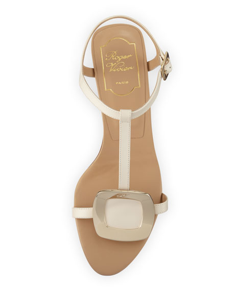 Chips Leather T-Strap Sandal, Off White