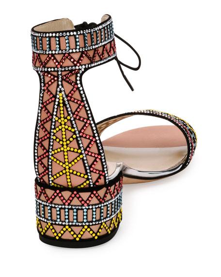 Geometric Crystal Ankle-Cuff Sandal, Black Pattern