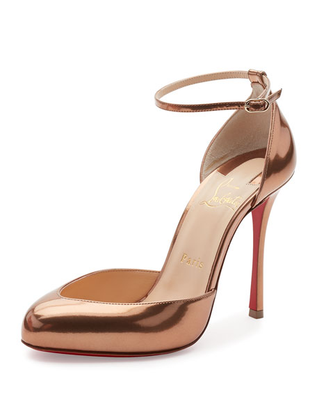 Dollyla Patent 100mm Red Sole Pump, Cappuccino