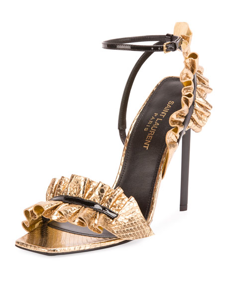 Saint Laurent Ruffled Snakeskin 110mm Sandal, Black/Gold