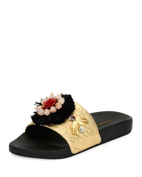 Metallic Jacquard Slide Sandal, Black