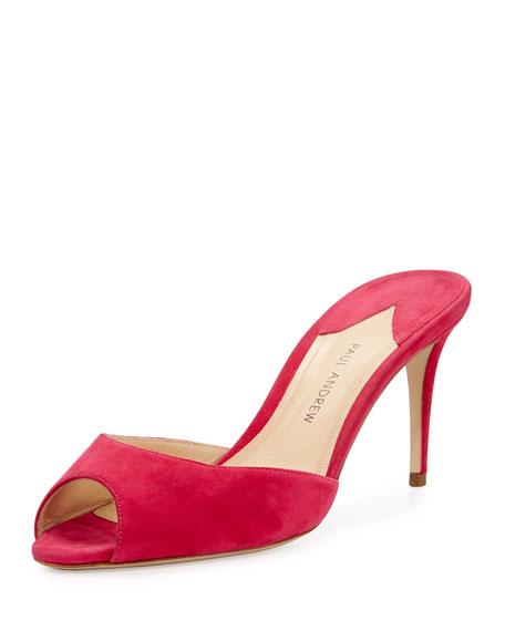 Aristata 75mm Suede Peep-Toe Mule, Pink
