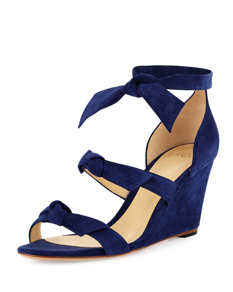Gianna Anabela Knotted Suede Wedge Sandal, Navy