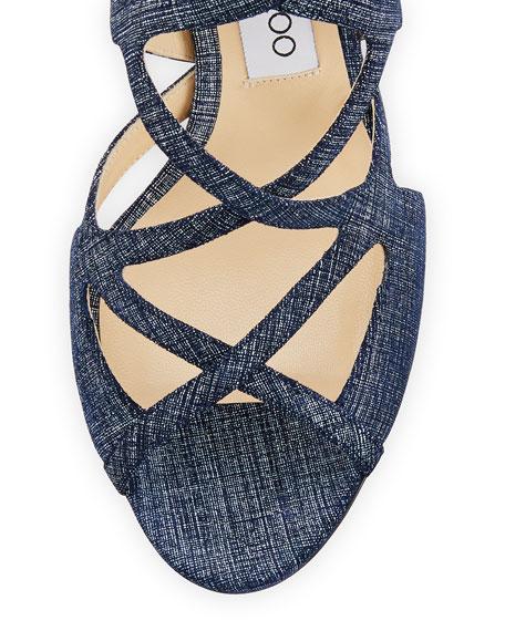 Dillan Caged Denim-Print 85mm Sandal, Light Indigo