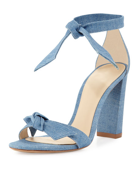 Clarita Knotted Suede Ankle-Wrap Sandal, Blue