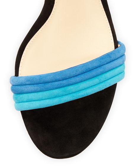 Aurora Colorblock Suede Block-Heel Sandal, Multi