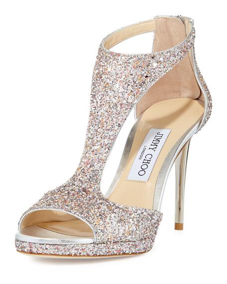 Lana Glitter T-Strap 100mm Sandal, Pink Metallic