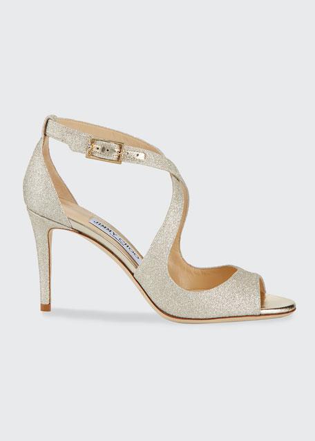 Jimmy Choo Emily Glitter Crisscross 85mm Sandal, Gold