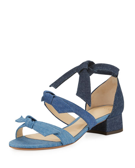 Mary Knotted Denim Sandal, Blue