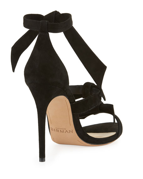Gianna Knotted Suede Sandal, Black