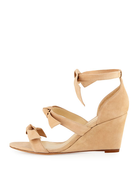 Gianna Anabela Knotted Suede Wedge Sandals, Nude
