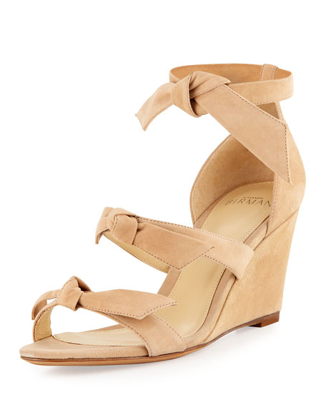 Gianna Anabela Knotted Suede Wedge Sandal, Nude