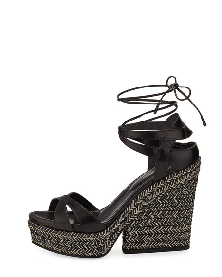 Bilbao Leather Espadrille Wedge Sandal, Black
