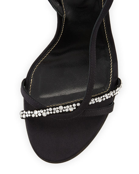 Lexington 105mm Strappy Crystal-Embellished Satin Sandal, Neutral