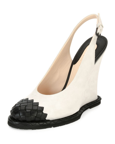 Intrecciato-Toe Slingback Wedge Pump, White/Black
