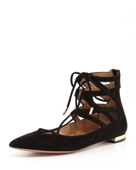 Aquazzura Belgravia Lattice Suede Flat, Black