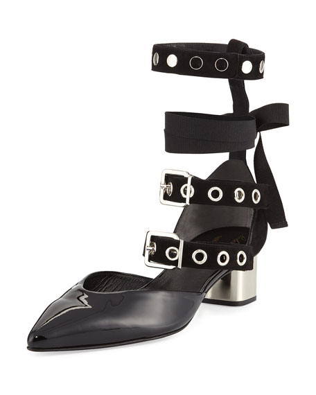 Robert Clergerie Susa Patent Buckle-Strap Pump, Black
