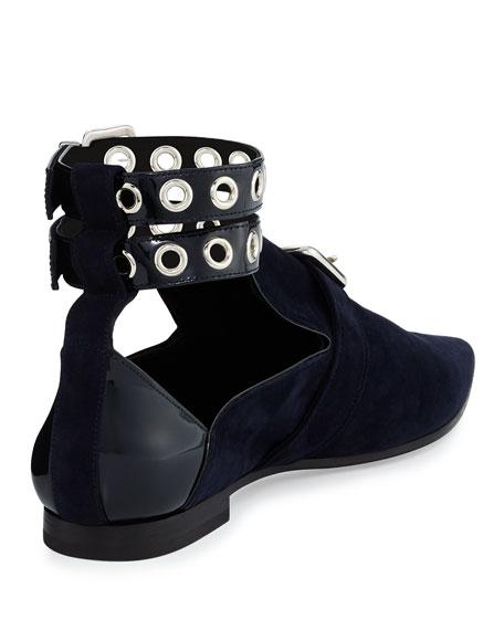 Lolli Suede Ankle-Strap Loafer, Black