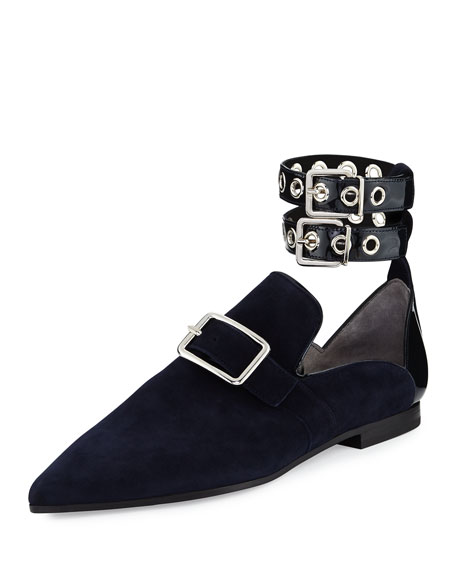 Robert Clergerie Lolli Suede Ankle-Strap Loafer, Black