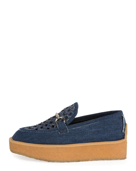 Brody Woven Denim Loafer, Dark Blue