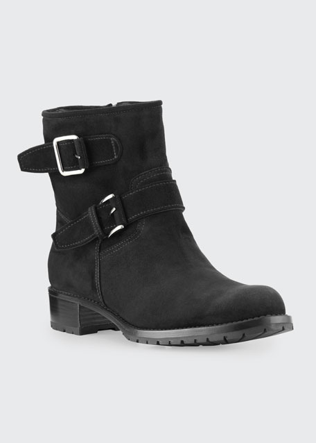 Two-Strap Suede Moto Boot
