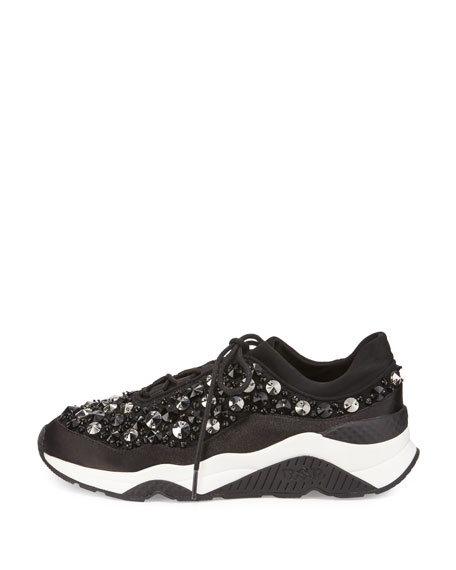 Muse Beaded Mesh Sneaker, Black